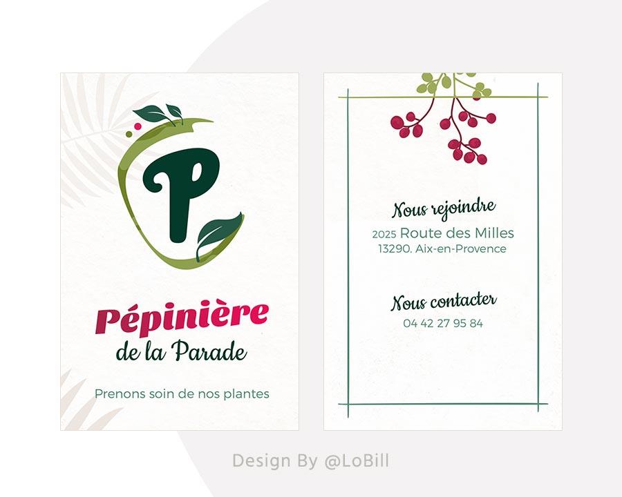 Pépinière de la Parade - carte de visite - LoBill Design : Site web et Communication digitale imprimée